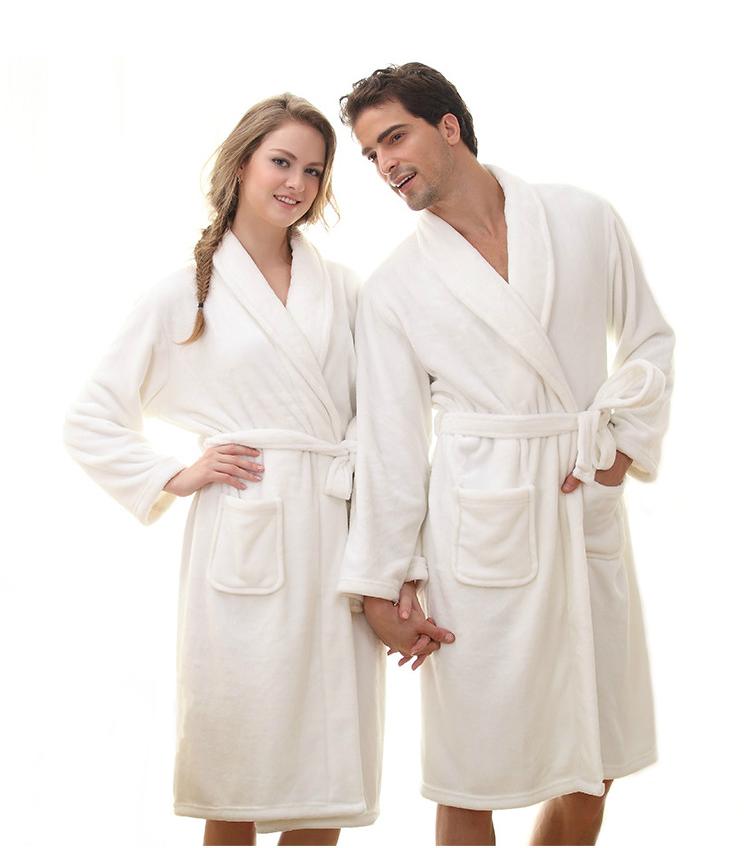 Hvid morgenkåbe til mænd og kvinder - Hurtig levering